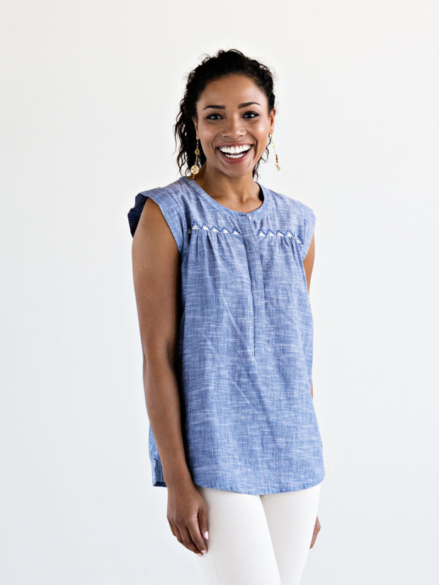 Lila Top Chambray