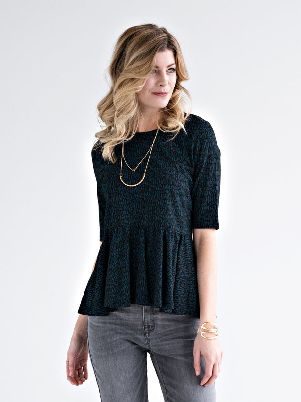 Ruffled Peplum Top Raindrops