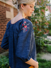 Tulum Tassel Top Dark Chambray