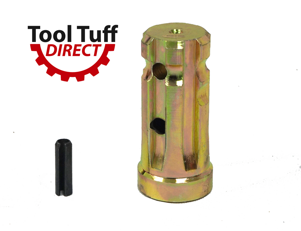 "PTO Sleeve Increaser (Closed End) Adaptor 1-1/8"" x 6 Spline Female End, 1-3/8"" x  6 Spline Male End, 1"" Extension"