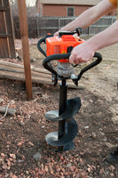 Tool-Tuff Combo: One Auger (Choose Size) AND Gas Powered, 1-Person-Operated Post Hole Digger Head, 43cc / 1.75 hp Easy-Starting Two Stroke Engine