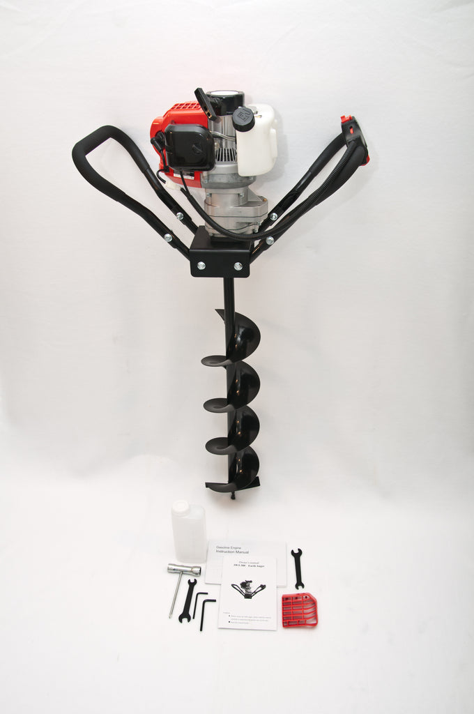 Tool-Tuff  Gas Combo: One Auger (Choose Size) AND Gas Powered, 1-Person-Operated Post Hole Digger Head, 52cc / 2.3 hp Easy-Starting Two Stroke Engine