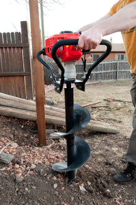 Tool-Tuff Combo: TWO Augers (Choose Sizes) AND Gas Powered, 1-Person-Operated Post Hole Digger Head, 52cc / 2.3 hp Easy-Starting Two Stroke Engine