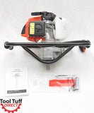 Tool-Tuff Combo: ONE Auger (Choose Size, Earth or Ice Augers!) Gas Powered Hand-Held Post Hole Digger / Ice Fishing Auger Head, 63cc, 3 hp, One-Man Operation
