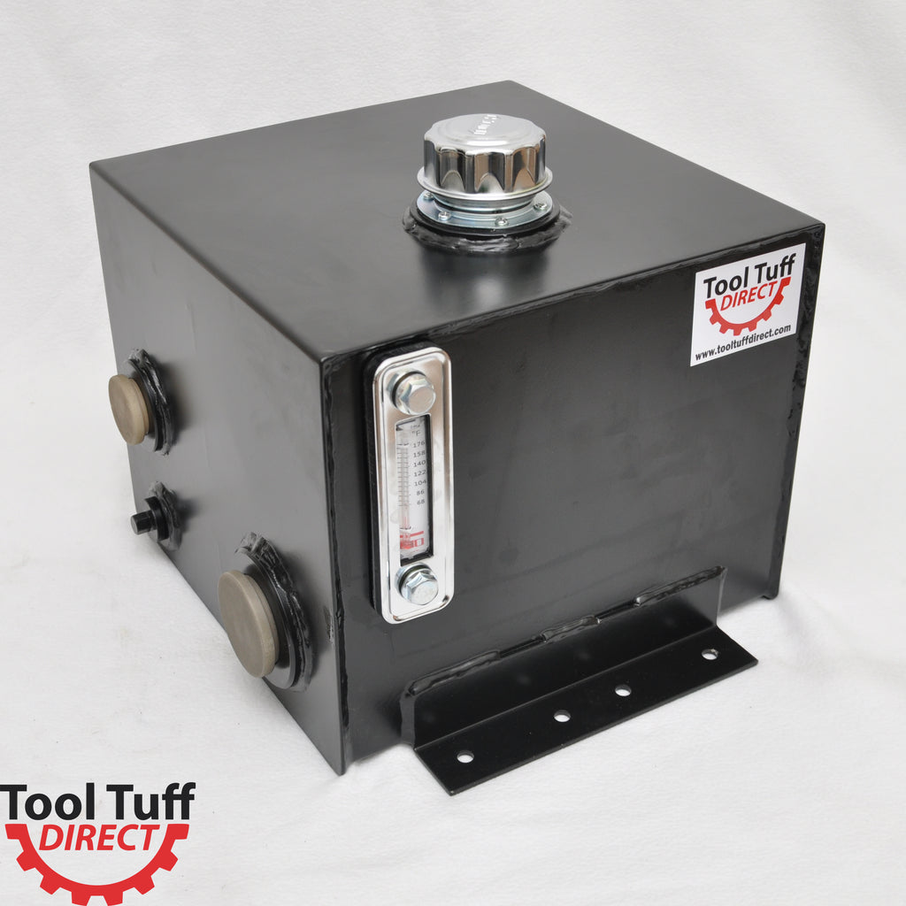 Tool-Tuff 7-Gallon Hydraulic Fluid Reservoir Tank, Horizontal-Mount, w/Temp Gauge, Sight-Gauge & Breather/Strainer Fill Cap