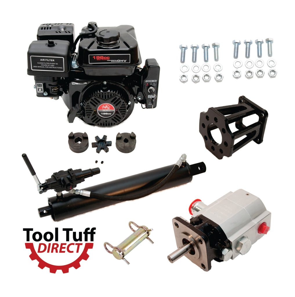 "Tool Tuff Log Splitter Build Kit: 6.5 hp Electric Start Engine, 13 GPM Pump, Auto-Return Valve, 4"" Welded Cylinder, Mount & Bolts - For DIY Build or Repair!"