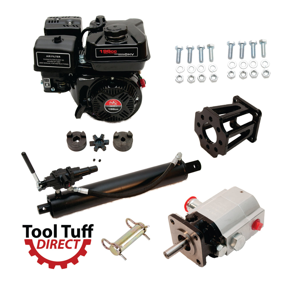 "Tool Tuff Log Splitter Build Kit: 6.5 hp Engine, 13 GPM Pump, Auto-Return Valve, 4"" Welded Cylinder, Mount & Bolts - For DIY Build or Repair!"
