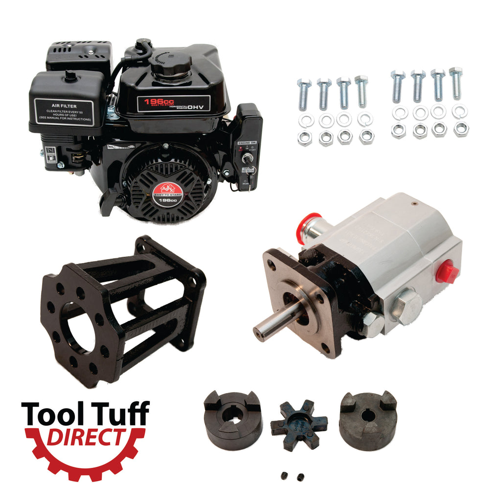 Tool Tuff Log Splitter Build Kit: 6.5 hp Electric Start Engine, 13 GPM Pump, Mount, Bolts, Coupler - For DIY or Repair!