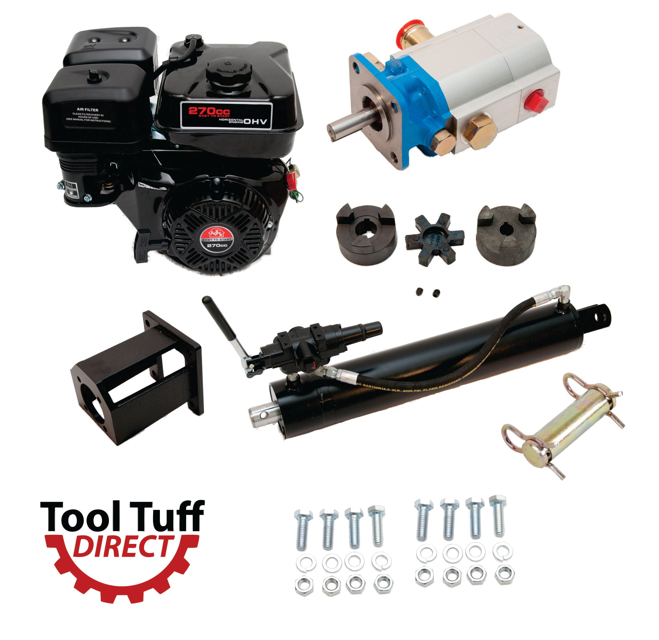 Tool Tuff Log Splitter Build Kit Electric Start 9 Hp Engine 16 Gpm 8 Diagram And Parts List For Briggs Stratton Allproducts Pump Detent Valve Mount Bolts 45 Welded Cylinder Fittings