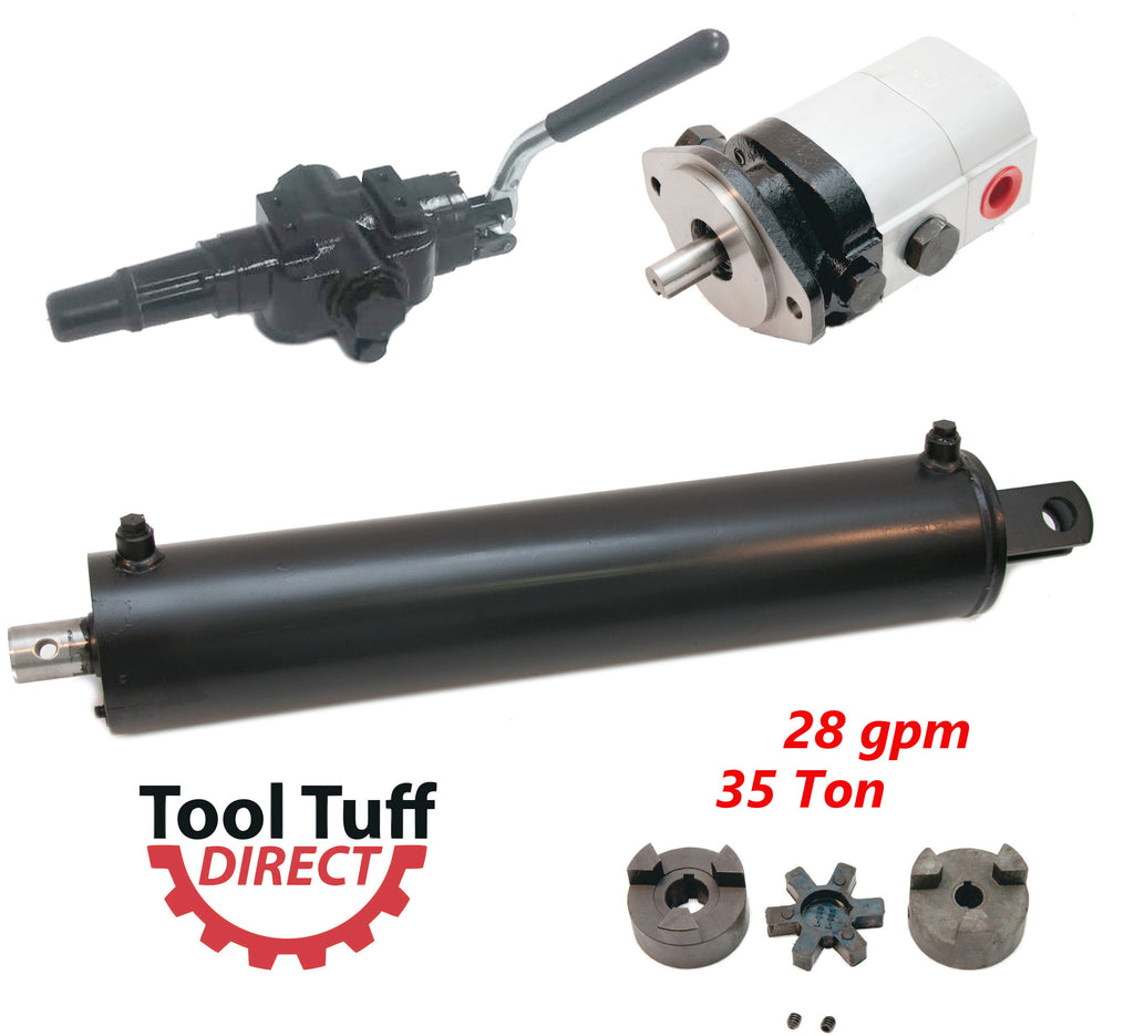 "Log Splitter Build Kit, 28 GPM Pump, 35 Ton 5"" Cylinder, High Flow Detent Valve, LO100 Coupler"
