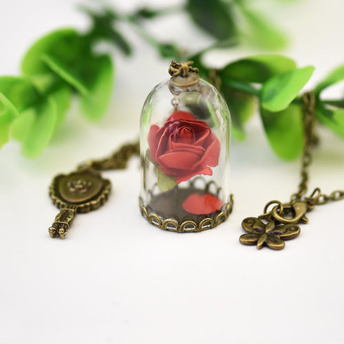 Disney's Beauty and The Beast Glass Rose Couples Necklace