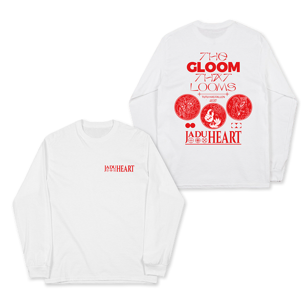 THE GLOOM THAT LOOMS LONG SLEEVED WHITE T- SHIRT