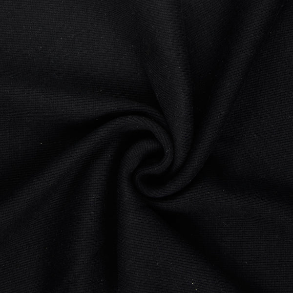 Tubular Jersey Ribbing Fabric 290 gsm - BLACK
