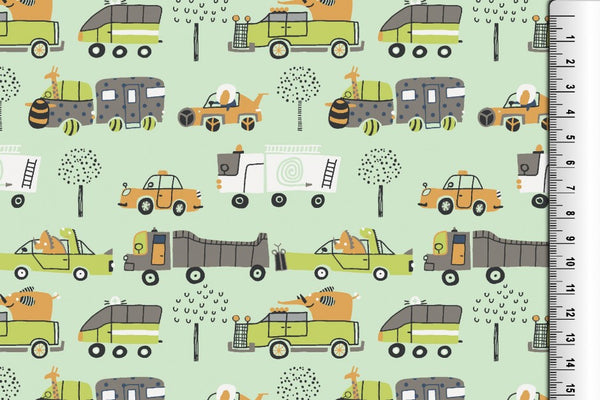 100% Cotton Fabric Children's Animal Transport