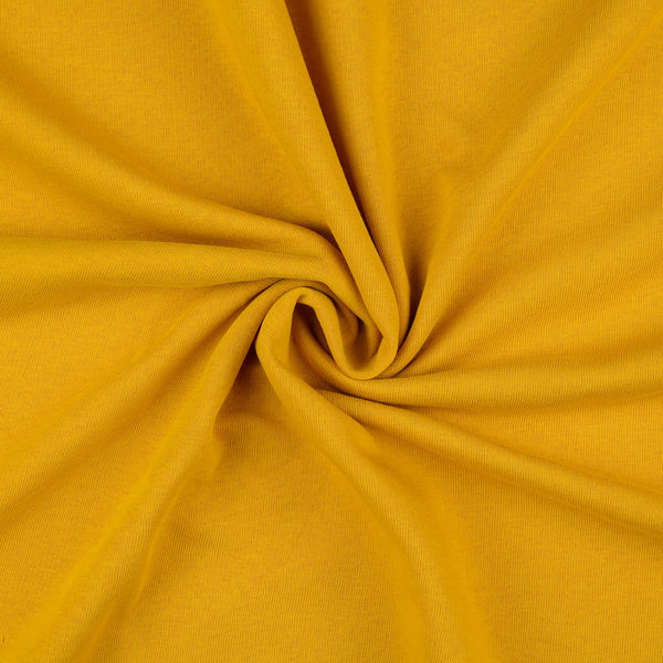 French Terry Fabric,  Mustard Brushed Back
