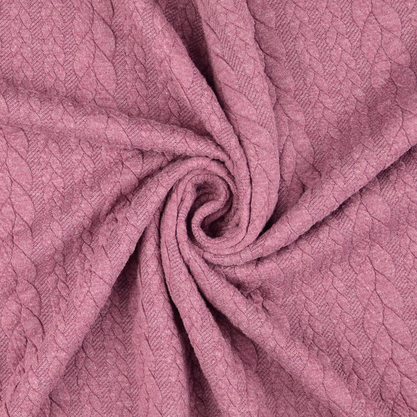 Cable Knit Jersey Fabric - DUSTY MAUVE
