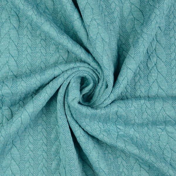 Cable Knit Jersey Fabric - TEAL GREEN