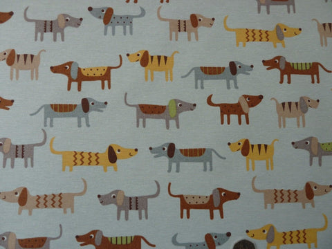 Dogs Print Cotton Blend Canvas Fabric for Curtains Furnishing Bags & Craft