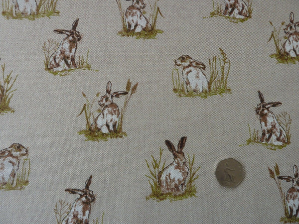 Linen Hares / Rabbits Fabric, Natural Linen Look Canvas, For Furnishing, Upholstery & Crafts - Bob Bob Bobbin - All Things Fabric