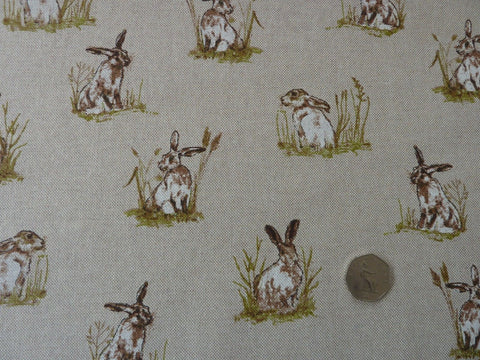 Hares / Rabbits Fabric (M) Natural Linen Look Canvas for Furnishing & Crafts