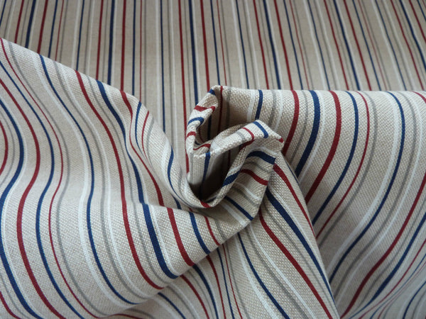 Natural Linen Look Canvas Fabric - Nautical Colours, Blue & Grey, Hearts Spots Stars Stripe - Bob Bob Bobbin - All Things Fabric