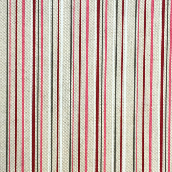 Natural Linen Look Canvas Fabric - Berry Multi Stripe - 80 cm Remnant