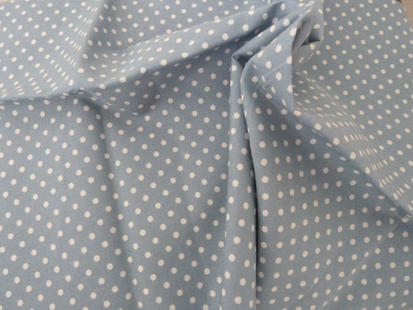 Pale Blue Polka Dot Fabric - 100% Cotton Poplin. For Dressmaking, Patchwork & Crafts - Bob Bob Bobbin - All Things Fabric