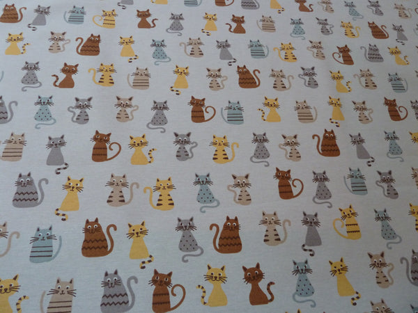 Cats Print Fabric Cotton Blend Canvas Fabric for Curtains Furnishing Bags & Craft - Bob Bob Bobbin - All Things Fabric
