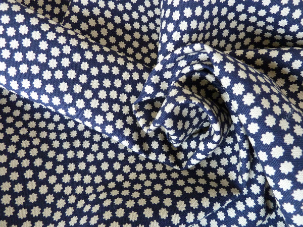 Navy Blue / Ecru Canvas, 100% Cotton Fabric, Ditsy Floral / Spot Print,  Crafts Bags Furnishing Cushions Blinds - Bob Bob Bobbin - All Things Fabric