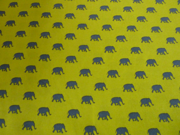 Last Pieces! Dress Fabric Mustard & Grey Elephant Print Pearl Peachskin Fabric - Bob Bob Bobbin - All Things Fabric