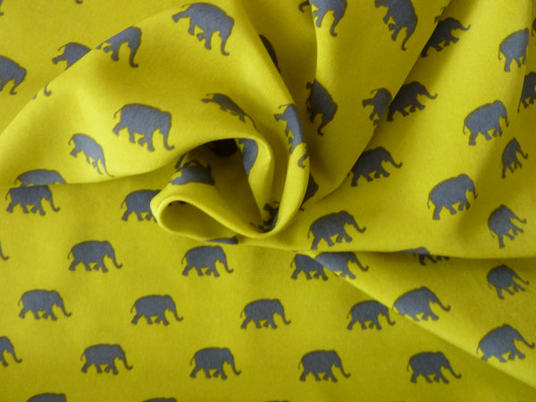 Dress Fabric, Grey & Yellow-Ochre Elephants, Pearl Peach Polyester, Soft Drape & Feel - Bob Bob Bobbin - All Things Fabric