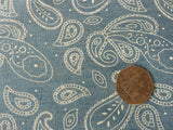 Paisley Denim Fabric, 100% Cotton - 55 cm Remnant