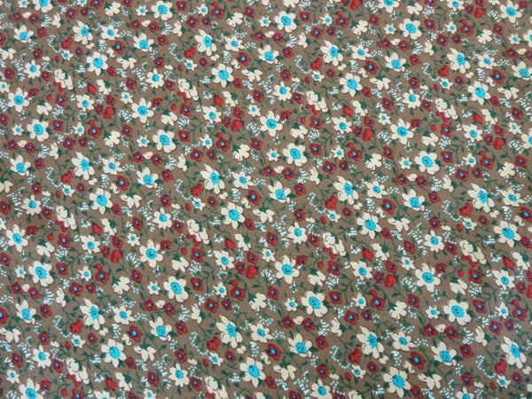 Viscose Poplin Dress Fabric, Mustard / Multi Floral, 100% Viscose, Soft Drape & Feel - Bob Bob Bobbin - All Things Fabric