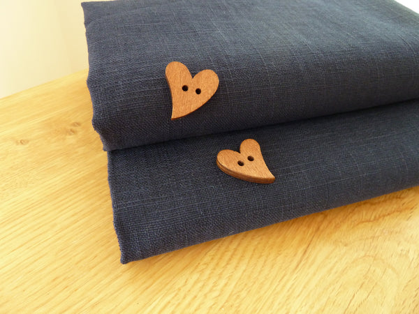100% Linen Fabric, Navy Blue Enzyme Washed Linen, Dress Fabric, Fab Quality 140 cm wide - Bob Bob Bobbin - All Things Fabric