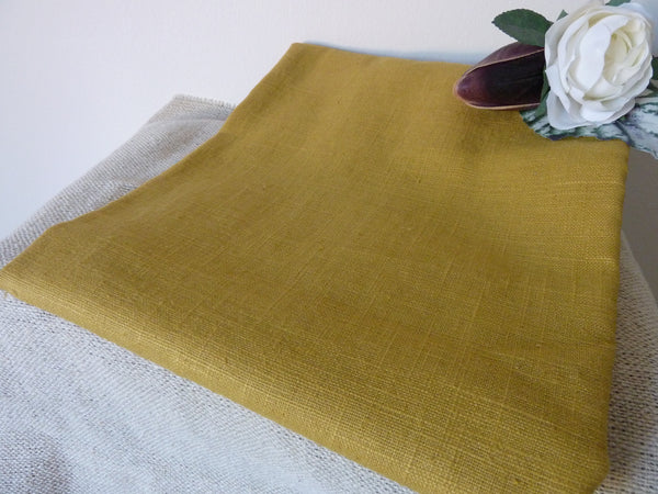 100% Linen Fabric, Mustard Yellow Washed Linen, Dress Fabric, 140 cm wide - Bob Bob Bobbin - All Things Fabric
