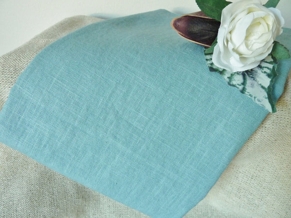 100% Linen Fabric, Aqua Blue Washed Linen, Dress Fabric, 140 cm wide - Bob Bob Bobbin - All Things Fabric