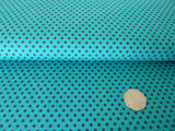 100% Cotton Fabric, Polka Dot Poplin, Purple on Turquoise, For Dressmaking, Patchwork & Crafts - Bob Bob Bobbin - All Things Fabric