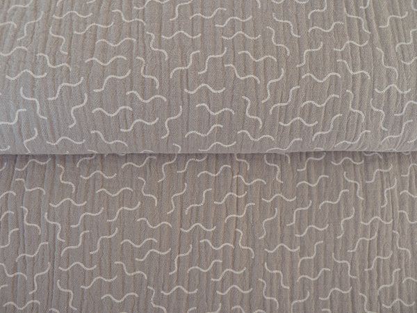 Double Gauze Fabric, 100% Cotton, 'Twirly' Print on Light Grey, For Dressmaking Babies & Nursery Accessories Quilting & More - Bob Bob Bobbin - All Things Fabric