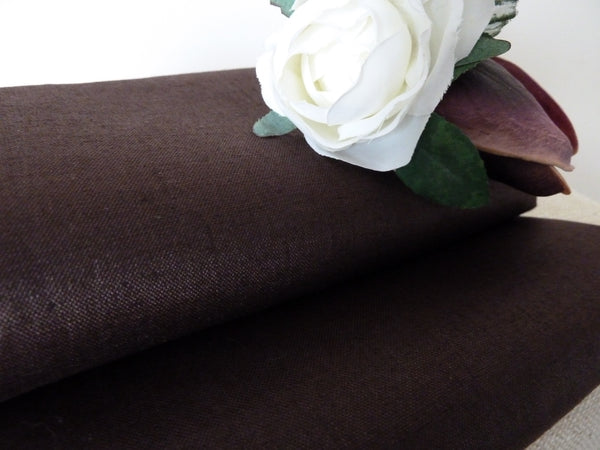 Dark Brown Linen Dress Fabric,  Linen / Cotton Sateen - 52 cm Remnant