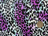 Leopard Print Crepe de Chine Dress Fabric, Magenta, Black, Turquoise & White, 100% Polyester - Bob Bob Bobbin - All Things Fabric