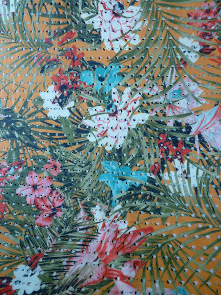 Eyelet Jersey Fabric, Tropical Floral Print Poly/Viscose Blend with Elastene - Bob Bob Bobbin - All Things Fabric