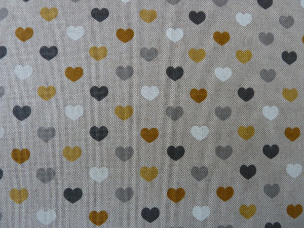 Natural Linen Look Canvas Fabric, Hearts Spots & Stars, Mustard Yellow/Ochre Grey White - Bob Bob Bobbin - All Things Fabric