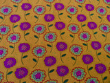 Mustard Yellow Floral Cotton Jersey Fabric, Funky 'Sweet Flower' Stretch Knit - Bob Bob Bobbin - All Things Fabric