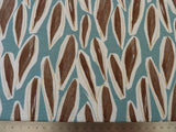 100% Cotton Furnishing Fabric, Teal Green & Brown Leaf Print, Also for Craft & Dressmaking - Bob Bob Bobbin - All Things Fabric
