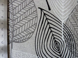 Natural Linen Look / Canvas Fabric, Monochrome Leaves Print with Subtle Sparkle - Bob Bob Bobbin - All Things Fabric