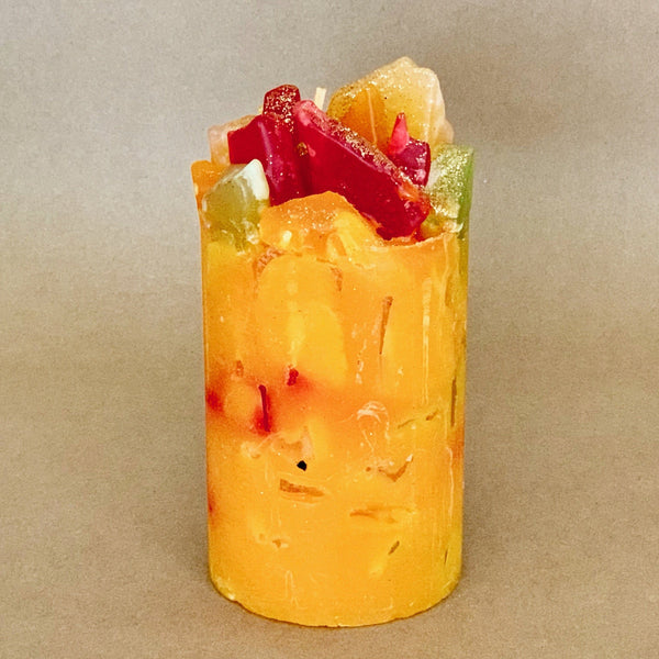 Tropical Treasure Mango and Papaya Scented Pillar Candle