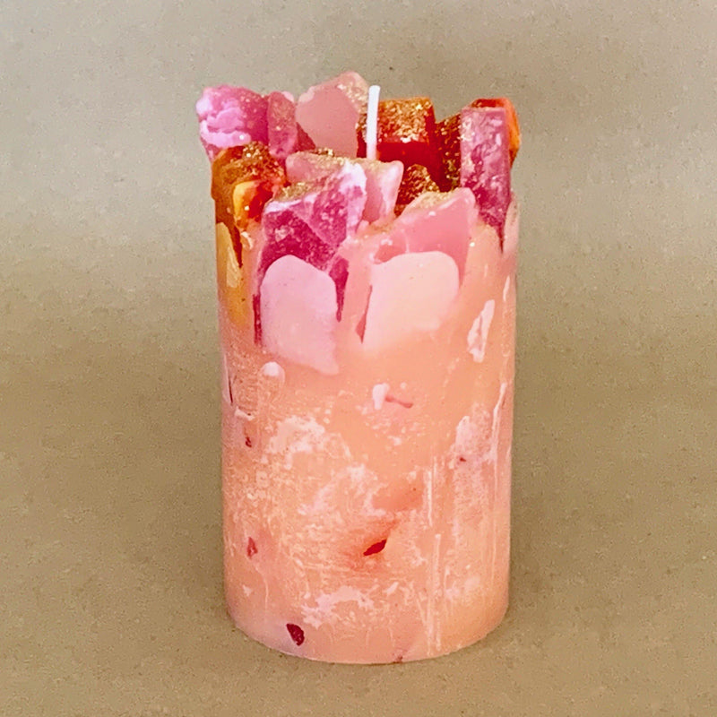 Fruity Flamingo Nectar and Mango Scented Pillar Candle