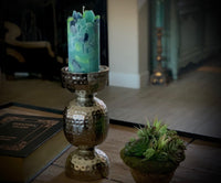 Hammered Metal Candle Holder and Scented Pillar Candle