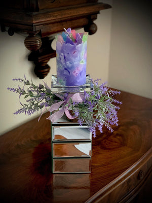 Square Mirrored Crystal Candle Holder with Luscious Lavender Scented Pillar Candle