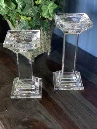 Square Crystal Candle Sticks/pair